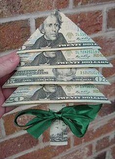 Fold Money for a Money Tree - 30 Last-Minute DIY Christmas Gift Ideas Everyone…