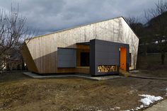 """Built by Pokorny Architekti in Povazska Bystrica, Slovakia with date 2011. Images by Dano Veselsky. At the very beginning of the weekend house's design was client's quite vague idea of a """"Slovak traditional wooden hou..."""
