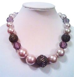 Bold Elements Bold Elements Tapered Black Hematite, Pearl, Purple Crystal, Imitation Diamond Statement Necklace