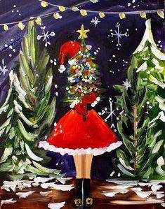 Christmas Acrylic Painting 14 Blue Christmas, Christmas Crafts, Christmas Decorations, Whimsical Christmas Art, Christmas Cookies, Merry Christmas, Christmas Paintings On Canvas, Christmas Tree Painting, Dollar Store Christmas
