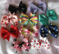 Custom Set of Four 3 inch Pinwheel Style Hairbows Over by EmzBowz, $9.00