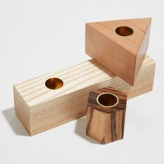 Geometry Wood Candlestick Holders - Set of 3 | The Radder