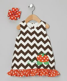 Take a look at this Molly Pop Inc. Brown Pumpkin Swing Dress & Bow Clip - Infant & Toddler only