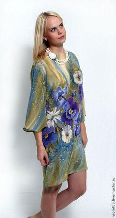 Шелковое платье Анютки - батик, шелк,ручная роспись - Батик,дизайнерская одежда