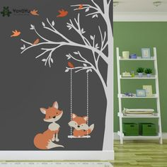 Provided 260x360cm Reindeer Tree Forest Birds Wall Stickers Decal Kids Art Nursery Decor In Pain Home Décor