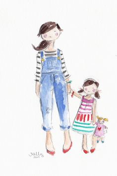 MOM & DAUGHTER - ORIGINAL WATERCOLOR (JENNIFER VALLEZ)