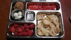 Cheese tortellini, grape tomatoes, raspberries, mozzarella balls, crackers.