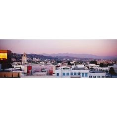 #High angle view of a cityscape, San Gabriel Mountains, Hollywood Hills, Hollywood, City of Los Angeles, California, USA Poster Print by Panoramic Images (27 x 9) $42.75