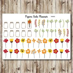 Wild flowers and mason jars planner stickers cut and ready for use in your Erin Condren life planner, Filofax, Plum Paper, Kikki K etc!