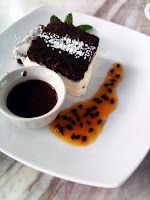 Chocolate cake with Passion fruit reduction
