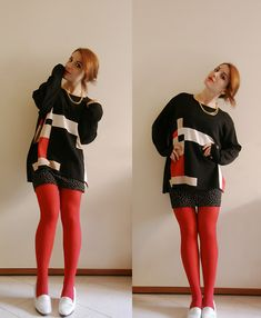Grandma's Sweater, H&M Printed Mini Skirt, Whatever Red Tights, Department Stores White Mocassins