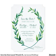 Save the Date Laurel Wreath Olive Leaf Branch Art Card A delightful Save the Date, engagement announcement to give your out of town guests extra time to plan their trip to be with you and your pledge your hearts in marriage. Easy to personalize and available as well with a photograph back option. Timeless. Simple. Modern. Perfect for a wedding in a lush garden setting in the spring or summer with foliage and greenery as the backdrop and reception theme. These hand painted in watercolor…