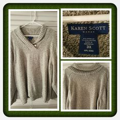 Grey Sweater By Karen Scott This is a grey sweater with black mixed in the size is 3X and it's by karen scott. This sweater is comfortable and warm great for fall and winter. Great condition POSTED ON MERCARI CODE CQUAAW  Karen Scott Sweaters V-Necks