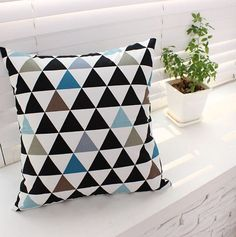 "Scandinavian Style Triangle Pattern 20s Cotton Oxford Fabric  -20s Cotton 100% Oxford  -1 Yard Width & Length: 43""X 35"" (110cm X 90cm)  -Pattern"