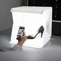Geek | Folding Portable Lightbox Studio Take Pictures Like A Pro On The Go With A Smartphone or DSLR Camera (Color: White)