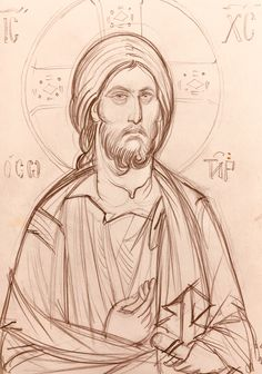 Orthodox Icons, Painting Process, Byzantine, Line Drawing, Sketchbooks, Christ, Cartoons, Contemporary, Detail