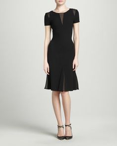 Sheer-Inset Flounce Dress, Black by Oscar de la Renta at Neiman Marcus.