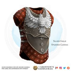 {The Griffon's Saddlebag} Silver Eagle Studded Cuirass Dungeons And Dragons Homebrew, D&d Dungeons And Dragons, Fantasy Armor, Fantasy Weapons, Studded Leather Armor, Magic Armor, Female Armor, Steampunk Costume, Silver Eagles