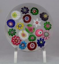 Antique MULTI COLOR Millefiori CLICHY Rose GLASS Paperweight SCARCE YELLOW Cane