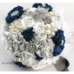 Brooch Bouquet Navy Blue White Gray Silver Wedding Jeweled Bridal... ($350) ❤ liked on Polyvore featuring jewelry, brooches, wedding, flowers, weddings, bouquets, decorations, grey, bridal jewellery and flower jewelry