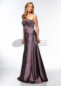 Mother of The Bride Dresses-taffeta strapless rouched bodice with a line skirt mother of bride dress