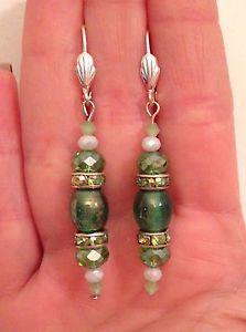 New Handmade Green Glass Bead & Crystals Drop Earrings. Great Holiday Gift!  | eBay