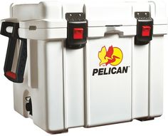 "Pelican - ProGear™ Marine Deluxe Cooler with 2"""" Insulation (45 Quart). Pelican - ProGear™ Marine Deluxe Cooler with 2"""""""" Insulation (45 Quart)  Marine deluxe cooler  Polyethylene plastic  Freezer-grade gasket for extreme water tightness  Ultrathick polyurethane insulation  100% noncorrosive stainless steel hardware  Dual handle system  High-quality extra-wide press & pull latches   Raised, rubberized nonskid/marking heavy-duty feet  Integrated fish scale on lid top  Threaded drain plug…"