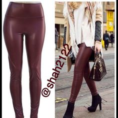 "wine faux leather leggings high waist sexy fleece Wine Burgundy Sexy Vegan Faux leather leggings. Perfect fit. On trend sexy. High waist. Medium weight. Lightly soft Fleece lined. Stretchy. Fabric :65% Polyester + 35% Cotton Measurements laying flat Unstretched to stretched ***across (Inseam = 27-28"") (Total Length= 38-39"") (Front Rise = 12"") (Back Rise =14"")  (Small Waist =11-13"") (Medium Waist =12-14"")  (LargeWaist =13-15"") (XL Waist =14- 16 "" )  ‼️Price is firm unless bundled‼️ Boutique…"