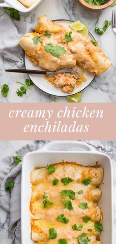 These creamy chicken enchiladas are super easy and quick to make. Best Picture For traditional chi Yummy Chicken Recipes, Easy Healthy Recipes, Mexican Food Recipes, Dinner Recipes, Dinner Ideas, Cooking Chicken To Shred, How To Cook Chicken, Easy Enchilada Recipe, Creamy Chicken Enchiladas