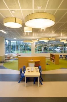 Create a road path with batches of areas for reading. (Zoning) plus the perforated ceiling w hanging lights Learning Spaces, Learning Centers, Early Learning, Daycare Spaces, Childcare Rooms, Daycare Design, Classroom Design, Early Childhood Centre, Early Childhood Education
