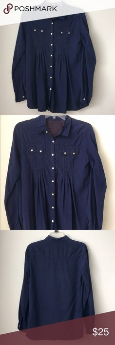 """Royal blue flowing button up Super cute and soft top to wear with leggings. I'm not sure of the material but it has a soft suede feel to it. It is pleated in the front below the buttons. The tag says XS but fit like a small. The length from the shoulder to bottom is 27.5"""" 🚫PayPal or trades. Reasonable offers will be considered. Please use the """"offer"""" button - I don't negotiate in the comments. Bundles are available pete & greta Tops Button Down Shirts"""