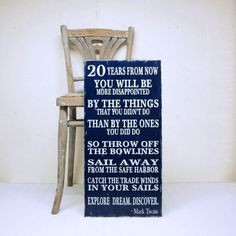 Mark Twain Wood Sign Rules for Life Twenty Years by SignsofVintage, $80.00