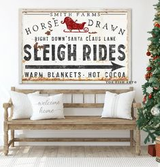 Sleigh Ride Sign Sleigh Rides Holiday Fun Farmhouse Christmas Decor Personalized Sign Rustic Name Established Sign Vintage Faux Metal Large - Herzlich willkommen Christmas Bedroom, Farmhouse Christmas Decor, Rustic Christmas, Cabin Christmas, Plaid Christmas, Xmas, Rustic Fall Decor, Rustic Wall Art, Christmas Signs