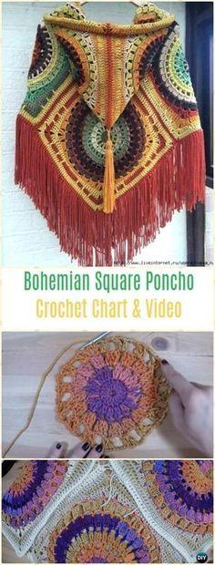 Crochet Bohemian Square Poncho Free Pattern Video - Crochet Women Capes & Poncho Patterns