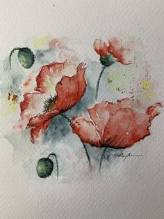 Watercolor poppies tutorial paint along, paint with color saturation abstract outlines and dropping watercolor technique and preserving whites. – Sunset Peonies