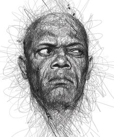 """""""Faces"""" is a series of celebrity portraits made of seemingly random scribbles, created by Malaysian illustrator Vince Low. via Designlov Vince Low's website Illustration Inspiration, Face Illustration, Art Illustrations, Pencil Drawings, Art Drawings, Art Sketches, Drawing Portraits, Animal Drawings, Realistic Drawings"""