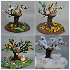 Needle felted Waldorf Seasonal tree Spring, Winter, Summer and Autumn for your…