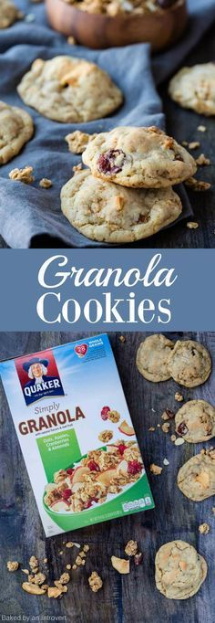 Granola Cookies with Apples, Cranberries, and Almonds are a simple cookie base that is flavored with granola and dried fruit. via @introvertbaker