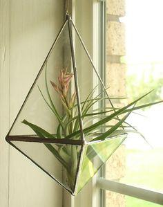 READY TO SHIP Malina  Geometric Hanging Glass by AngularAlchemy