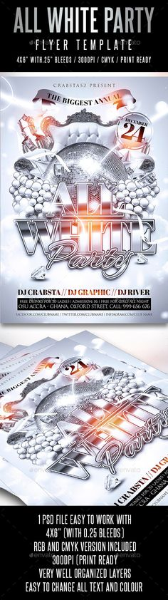 All White Party Flyer Template PSD #design Download: http://graphicriver.net/item/all-white-party-flyer-template/12934227?ref=ksioks