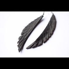 Handmade feather leather earrings Handmade by me! Black, feather, leather…