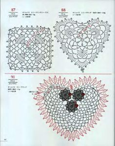 Tina's handicraft : 28 free patterns for harts motifs , granny square Baby Afghan Crochet Patterns, Crochet Chart, Thread Crochet, Crochet Motif, Crochet Doilies, Crochet Flowers, Crochet Lace, Crochet Stitches, Lace Flowers