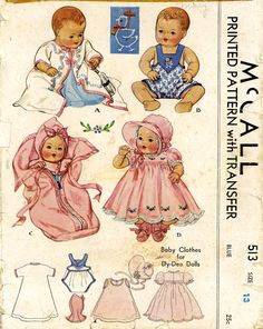 Vintage Doll Clothes Pattern. McCall 513 for Dy Dee dolls by Effanbee a 13 inch doll in the 1930s