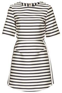 @Topshop Petite Satin Strip A-Line Dress