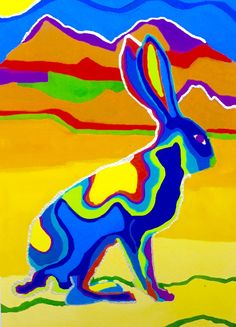 Jackrabbit Art Print Animal Art Print Art by bleuwolfpaintings