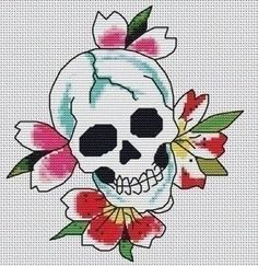 Ed Hardy blooming skull tattoo cross-stitch pattern. Free tutorial with pictures on how to make a patterns in under 120 minutes by cross stitching with embroidery thread and embroidery needle. Inspired by celebrities. How To posted by Ed Hardy. Cross Stitching, Cross Stitch Embroidery, Embroidery Patterns, Embroidery Thread, Cross Stitch Designs, Cross Stitch Patterns, Cross Stitch Skull, Crochet Skull, Cross Stitch Boards