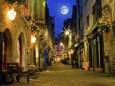 Old Galway city street at night. Old Galway city street,Kerwan's Lane,decorated , Ireland Vacation, Ireland Travel, Tourism Ireland, Hidden Places, Oh The Places You'll Go, Malta, City Streets, Belfast, Dream Vacations
