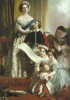 The young Queen Victoria and her children by John Calcott Horsley.  She did much to make tartan fashionable.