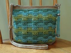 Crochet Crossbody Bag Purse Tan Green Teal by kathyscrochetcloset