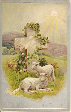 Lambs-Sheep in Pasture-Cross-Sunrise-Easter Holiday Greeting-Vintage Postcard